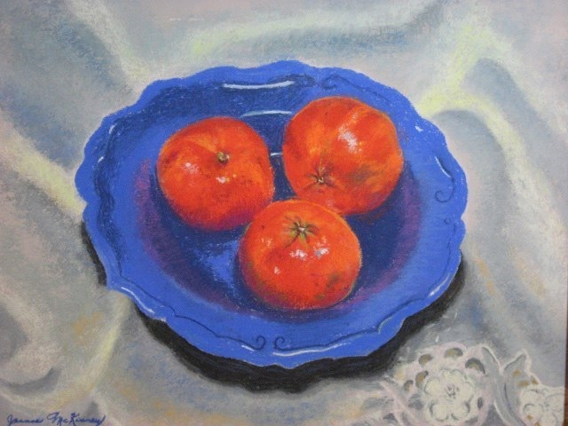 Tangerines on Blue Plate